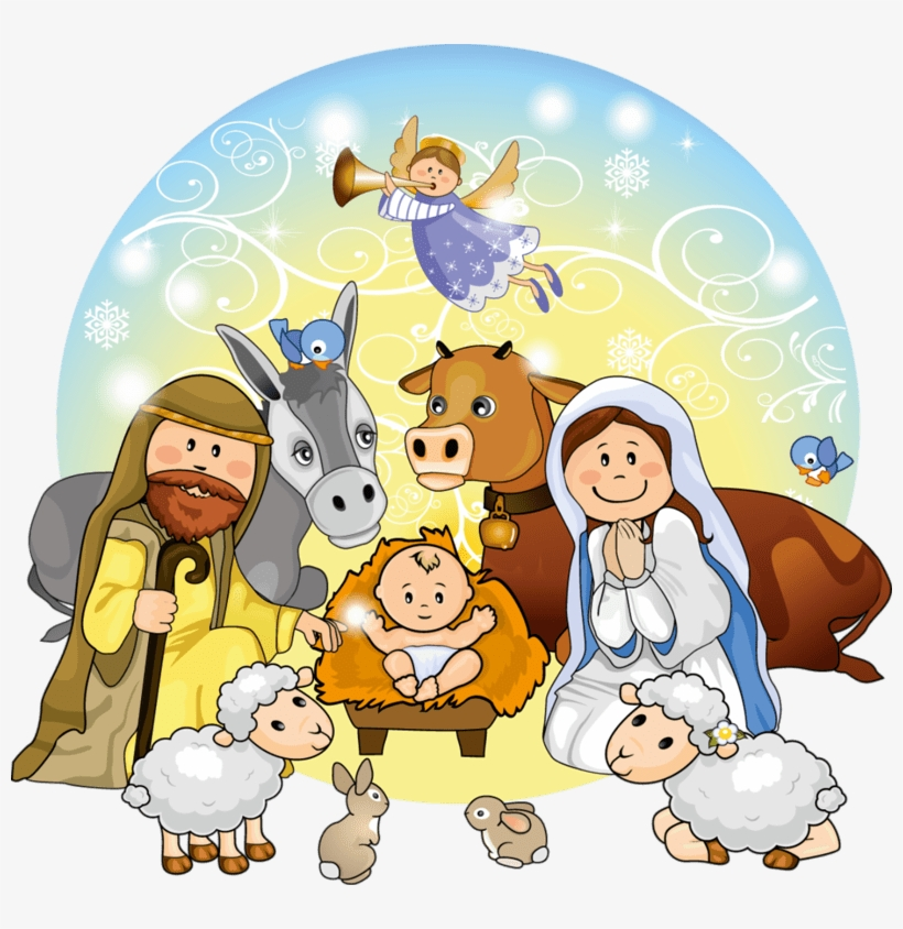 Cute Christmas Nativity Scene Clip - Christmas Nativity Clipart, transparent png #9398980
