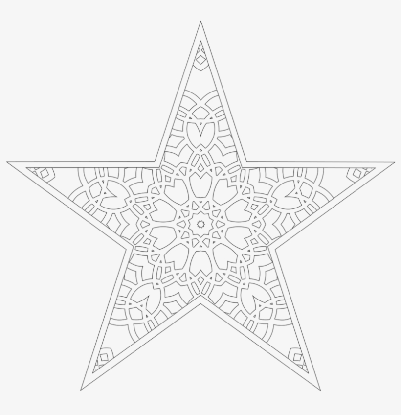 Christmas Tree Star Coloring Page - Line Art, transparent png #9399219