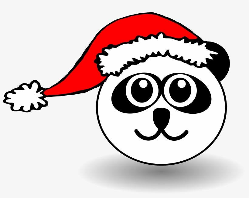 Animals In Santa Hats Messages Sticker-7 - Cartoon Panda Face, transparent png #943181
