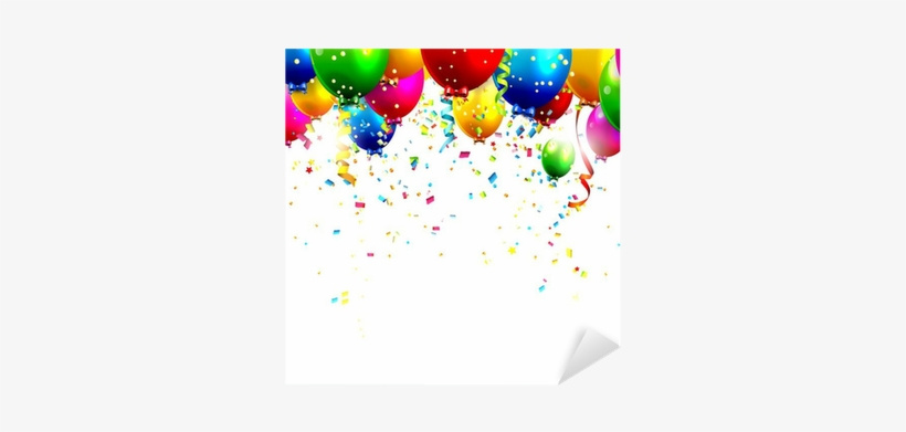 Colorful Birthday Balloons And Confetti - Birthday Balloon Border Vertical, transparent png #943236