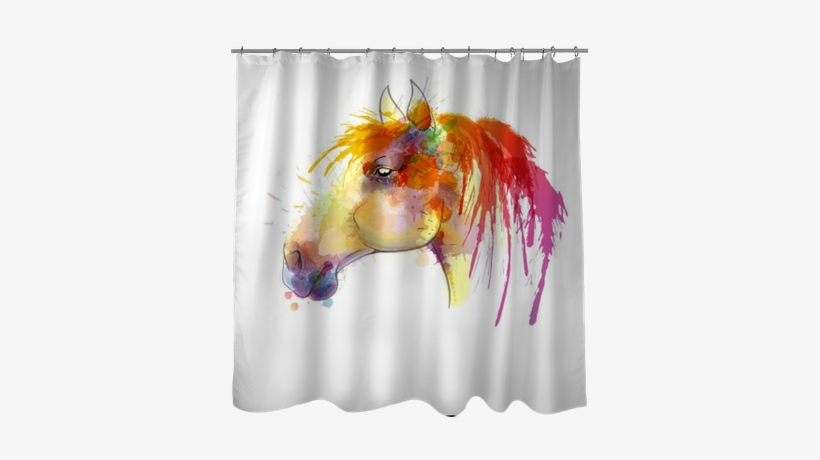 Horse Head Watercolor Painting Shower Curtain • Pixers® - Watercolor Painting, transparent png #943965