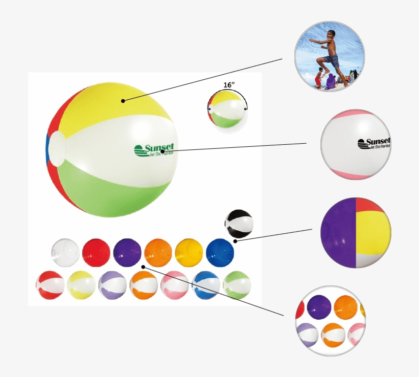 Great For Outdoors Pad Printed Solid Or Paneled 15 - Promotional 16 Advertising Beach Ball (100 Qty, transparent png #944527