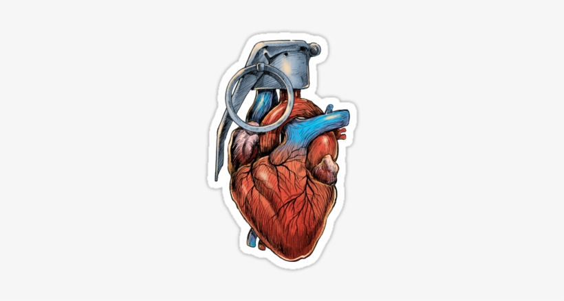 Collection Of Free Grenade Drawing Human Heart Download - Heart Grenade Tattoo, transparent png #948605