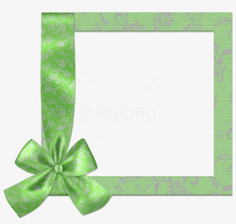 Cute Green Png Frame With Bow Png - Borders Happy Birthday Frame Transparent Png, transparent png #9415939