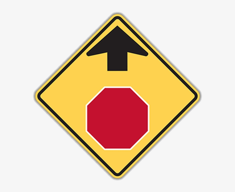 Larger Photo - Stop Sign Ahead Sign, transparent png #9416207