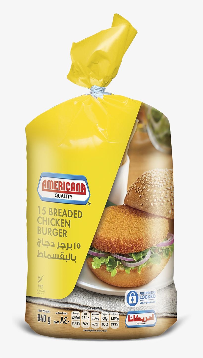 370106 Americana Breaded Chicken Burger 840g 15pcs - Americana Chicken Burger, transparent png #9433372