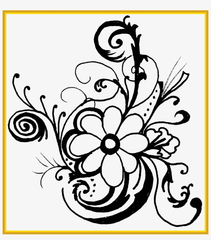 Marvelous Hawaiian Flower Clip Borders Drawing Easy Flower Black And White Clipart Borders Free Transparent Png Download Pngkey