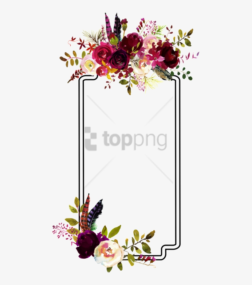 Free Png Fashion Flower Border Decoration Vector - Bull Skull Floral Watercolor, transparent png #9440201