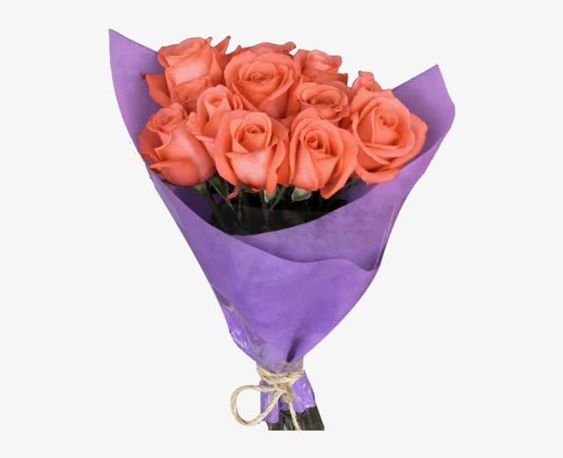 Diy 12 Orange Roses Bouquet Magnaflor - Bouquet, transparent png #9461378