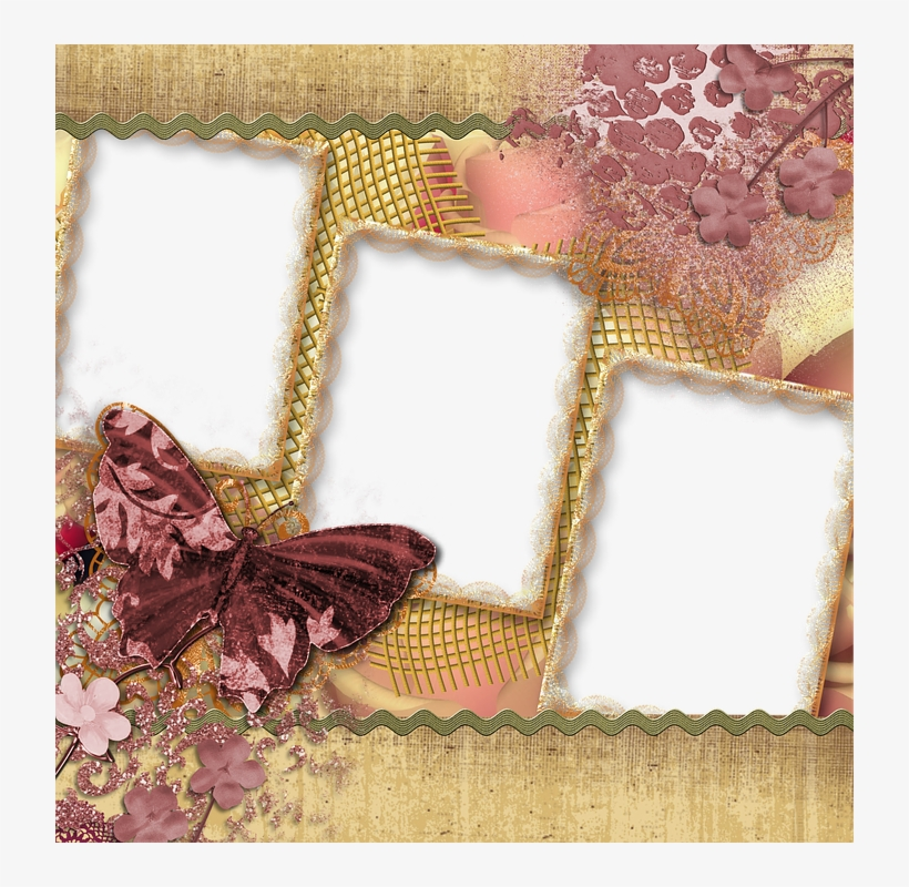 Background, Scrapbook, Page, Butterfly, Square - Scrapbook Frames Transparent Background, transparent png #9467356