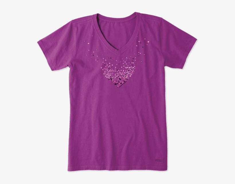Women's Floating Heart Of Hearts Crusher Vee - Green Shirt Womens, transparent png #9470788