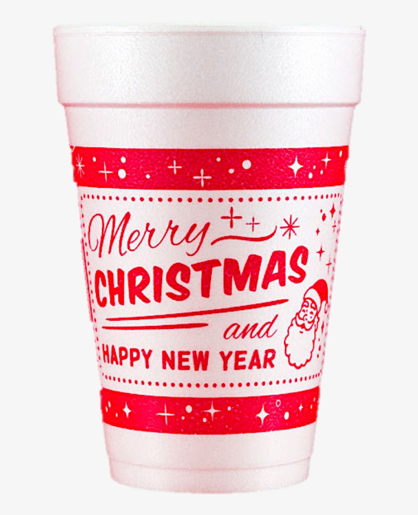 Pre-printed Styrofoam Cups Merry Christmas And Happy - Pint Glass, transparent png #9486737