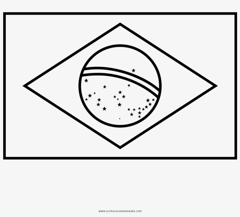 Brazil Flag Coloring Page - Brazil Flag Clipart Black And ...