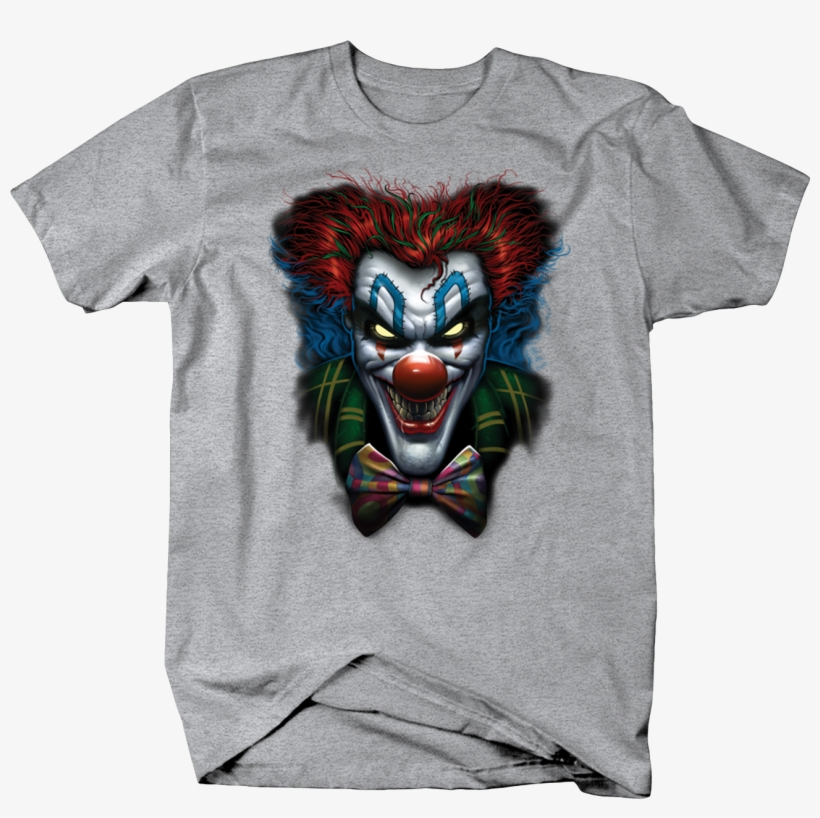 Evil Clown Looking At You Crazy Red Hair - Mens T-shirt Creepy Clown Red Poofy Hair Bow Tie Navy, transparent png #952072