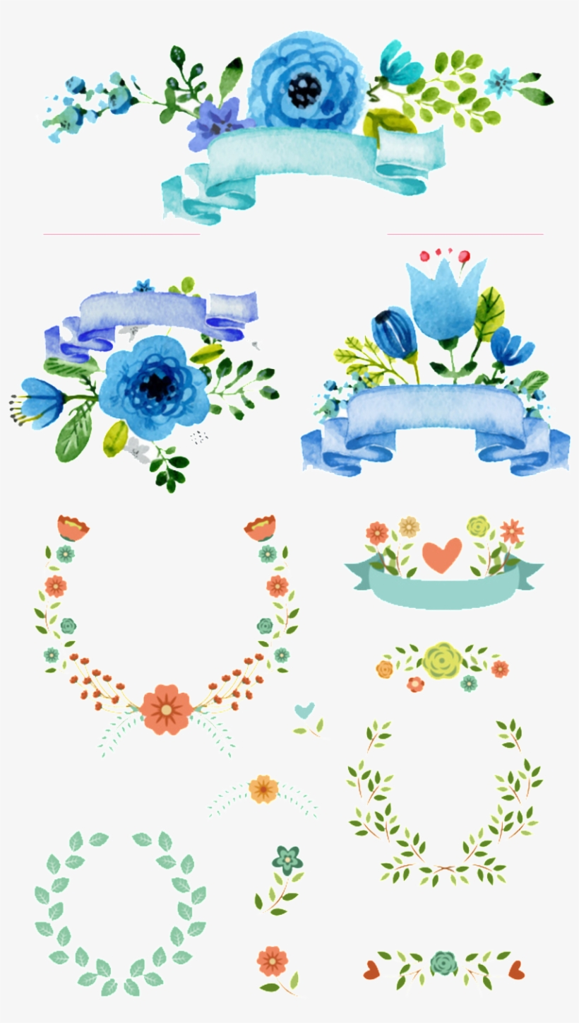 Fresh Blue Watercolor Flowers Hand Drawn Wreath Decorative - Flower, transparent png #952486