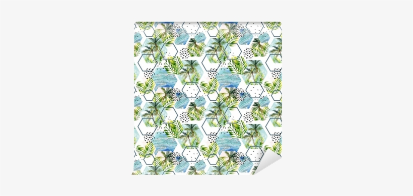 Watercolor Tropical Leaves And Palm Trees In Geometric - Placemat, transparent png #954486