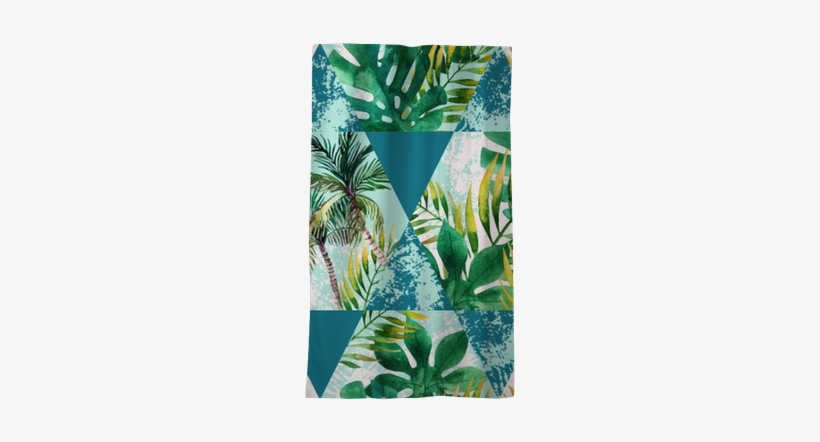 Watercolor Tropical Leaves And Palm Trees In Geometric - Protea, transparent png #954558