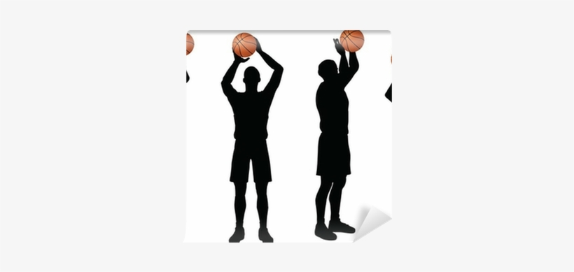Basketball Players Silhouette Collection In Free Throw - Basketball, transparent png #958426