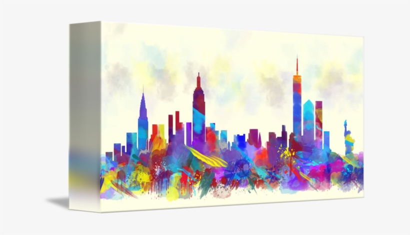 """new York City Skyline Watercolor Print"" By Mary Alhadif - New York City Watercolor, transparent png #958912"