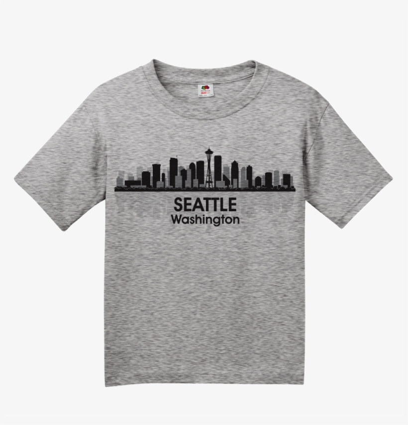 Youth Grey Seattle City Skyline - T-shirt, transparent png #959395