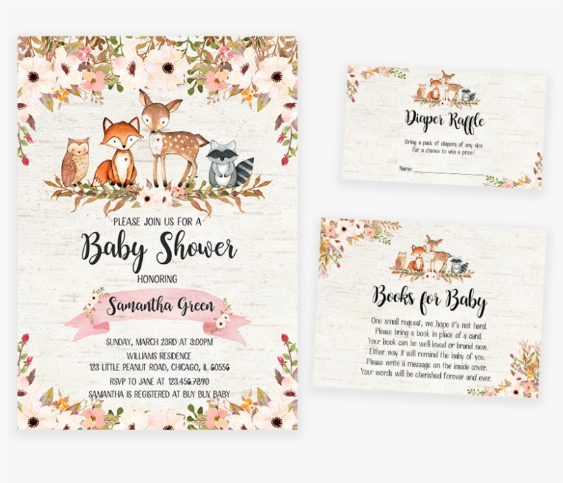 photo about Free Printable Woodland Baby Shower Invitations named Floral Woodland Kid Shower Invitation Pack - Printable