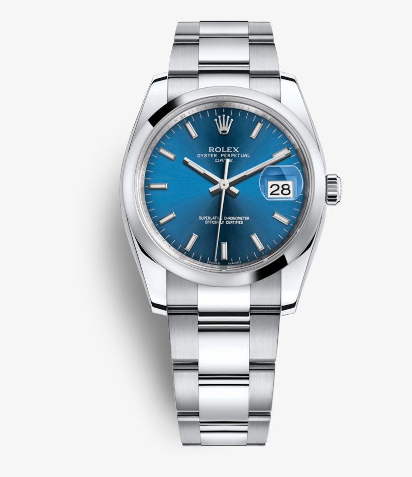 Datejust Perpetual Watch Rolex Date Automatic Oyster - Rolex Oyster Perpetual Date 34 Blue Dial, transparent png #9517242