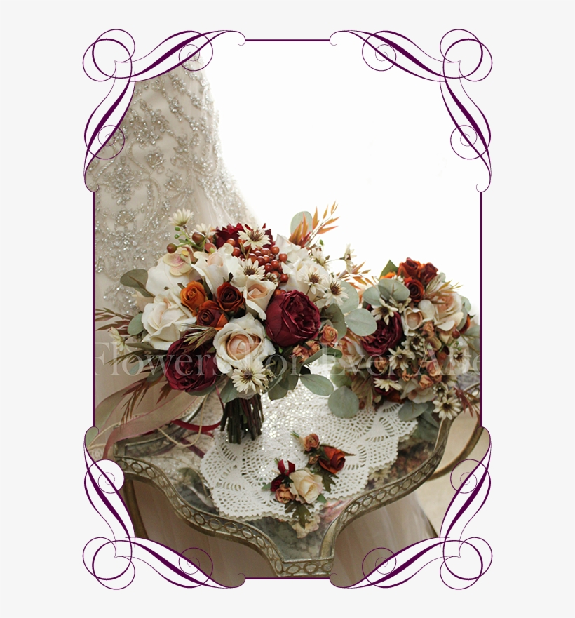 Sue-ellen Package Flowers For Ever After Artificial - Bridesmaid Peony And Roses Bouquets, transparent png #9519537
