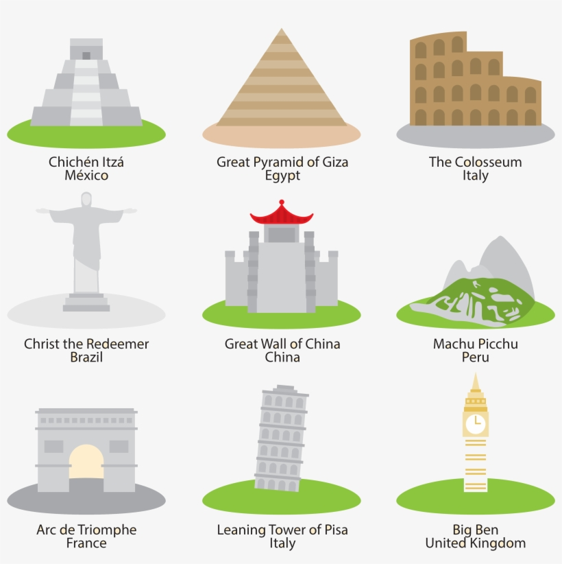 Royalty Free Library Great Of Taj Mahal Pyramid Giza - Wonders Of The World Icons, transparent png #9522030