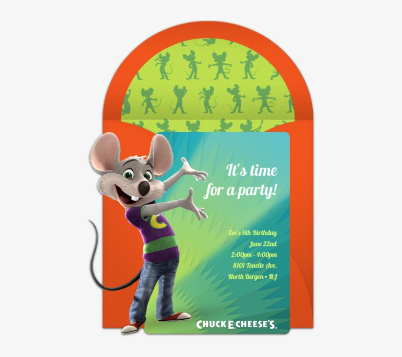 Cheese's - Chuck E Cheese Birthday Invitations, transparent png #9524510