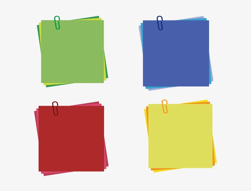 Post It Note Clip Color Sticky Notes - Sticky Notes With Paper Clip, transparent png #9532619