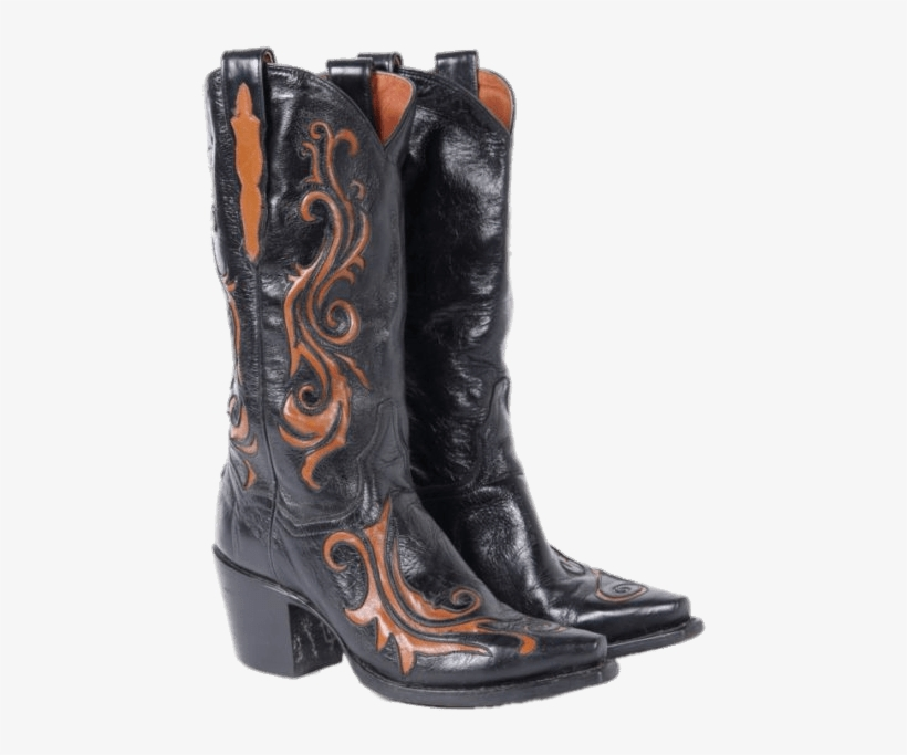 Black And Brown Vintage Cowboy Boots - Cowboy Boot, transparent png #9532868