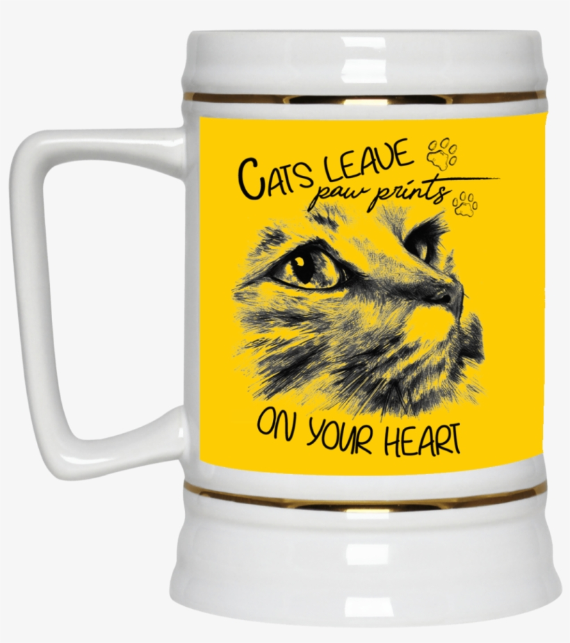 Cats Leave Paw Prints On Your Heart Cat Mug - Cat Tattoo Design, transparent png #9540993