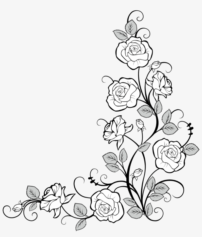 #frames #frame #corner #corners #borders #border #roses - Drawing Border Design Flower, transparent png #9543317