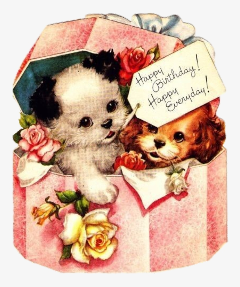 Aesthetic#my Edit - Vintage Birthday Cards With Dogs, transparent png #9580682