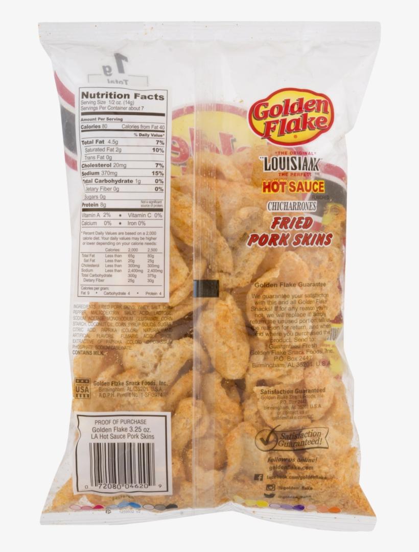 Golden Flake Pork Skins, Louisiana Hot Sauce - Golden Flake Pork Rinds Nutrition, transparent png #9590656