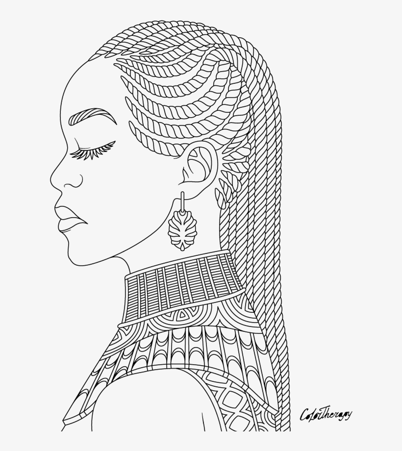 Jpg Transparent Stock African Drawing Dread - Coloring Pictures Of African Women, transparent png #961957