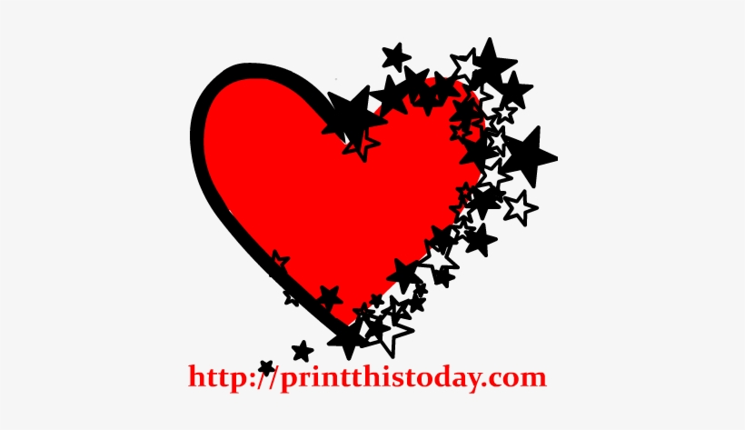 Falling Stars Clipart Heart - Black And Red Heart Clipart, transparent png #965080