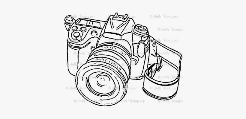 Camera Sketch Wallpaper Beththompsonart Spoonflower - Camera