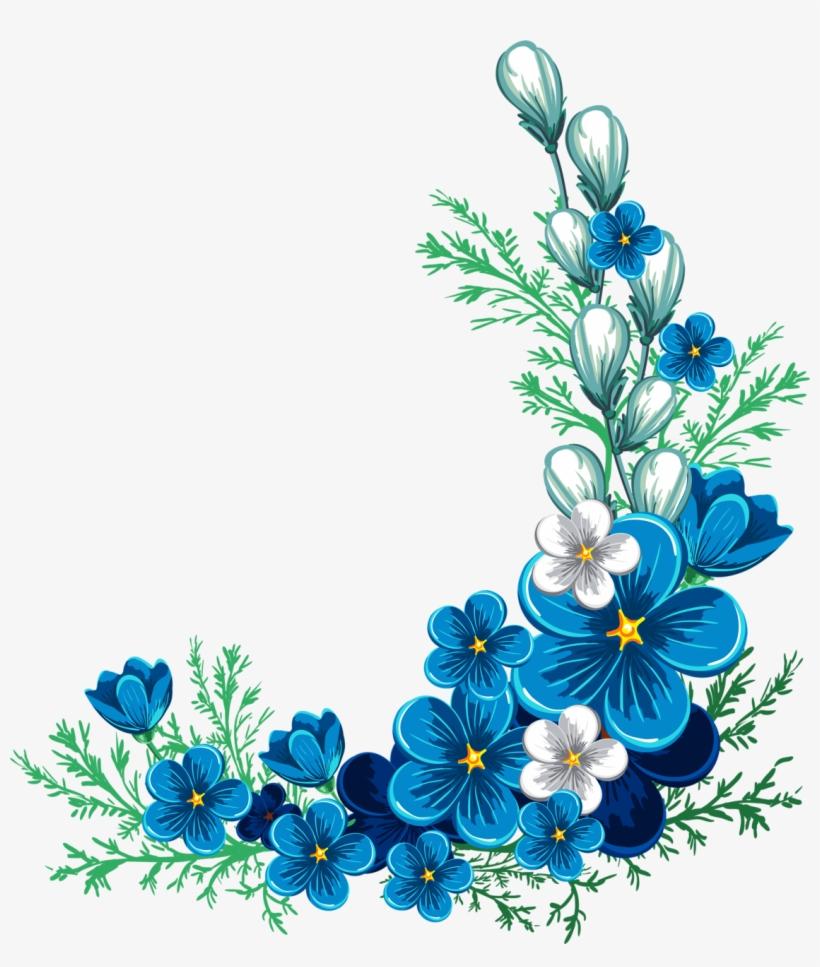 Forget Me Not Clipart Corner Border - Blue Flower Border Png, transparent png #969907