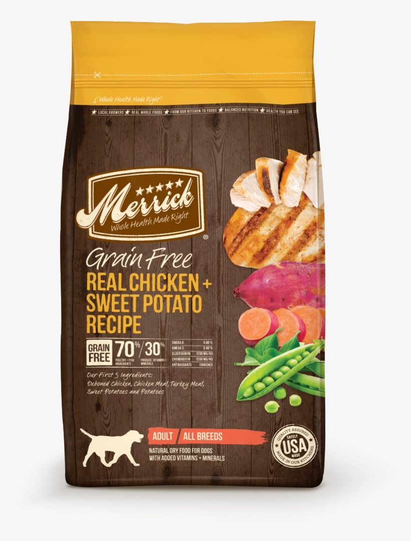 Merrick Grain Free Real Chicken And Sweet Potato Dry - Merrick Salmon Dog Food, transparent png #9636541