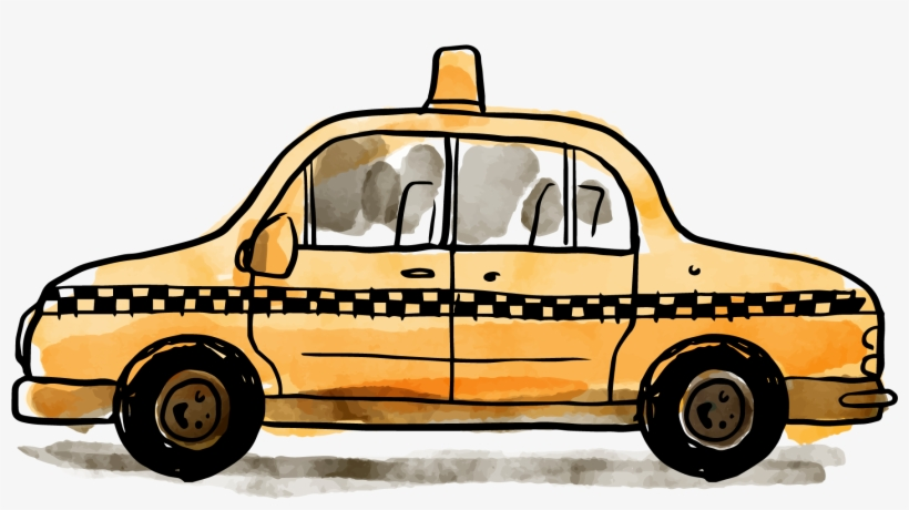 Svg Freeuse Library Statue Of Liberty Taxicabs City - Taxi New York Watercolor, transparent png #9641054