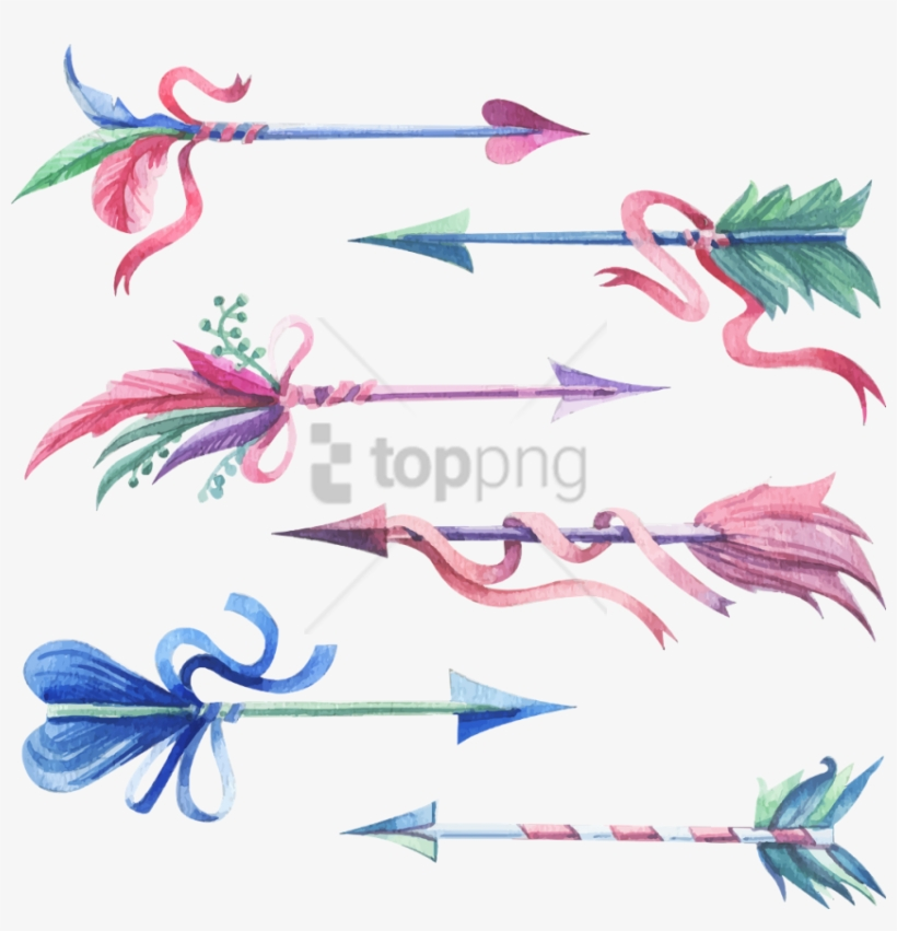 Free Png Download Blue Watercolor Arrow Png Images - Feather Arrow Watercolor Png, transparent png #9655171