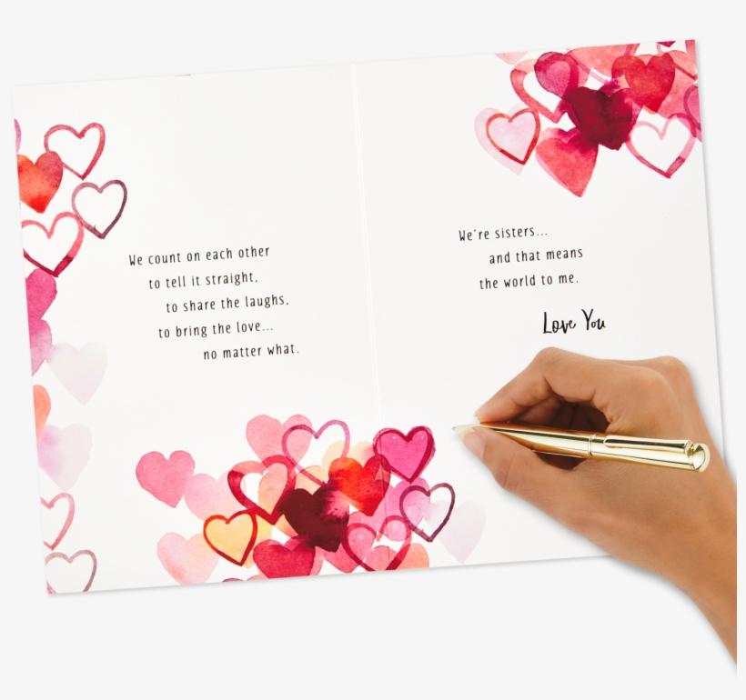 Watercolor Hearts Valentine's Day Card For Sister - Valentines Day Card To Sister, transparent png #9658181