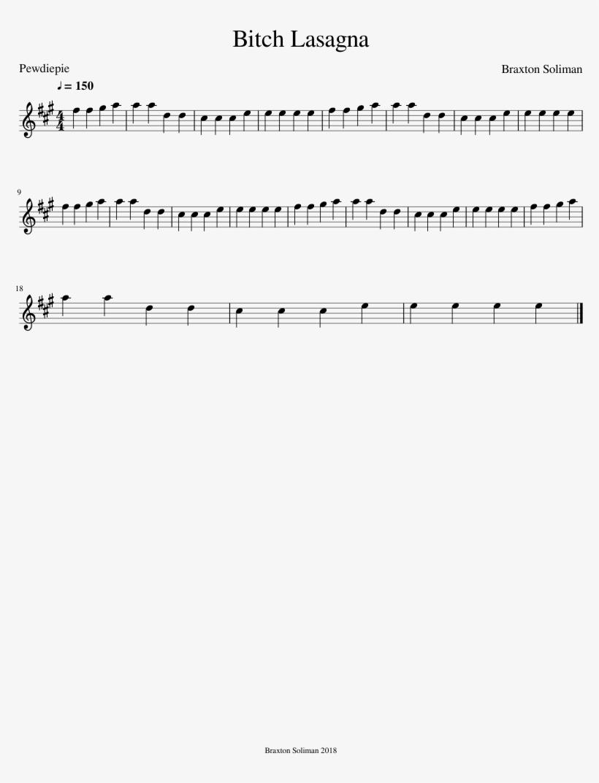 Bitch Lasagna Piano Notes, transparent png #9658876