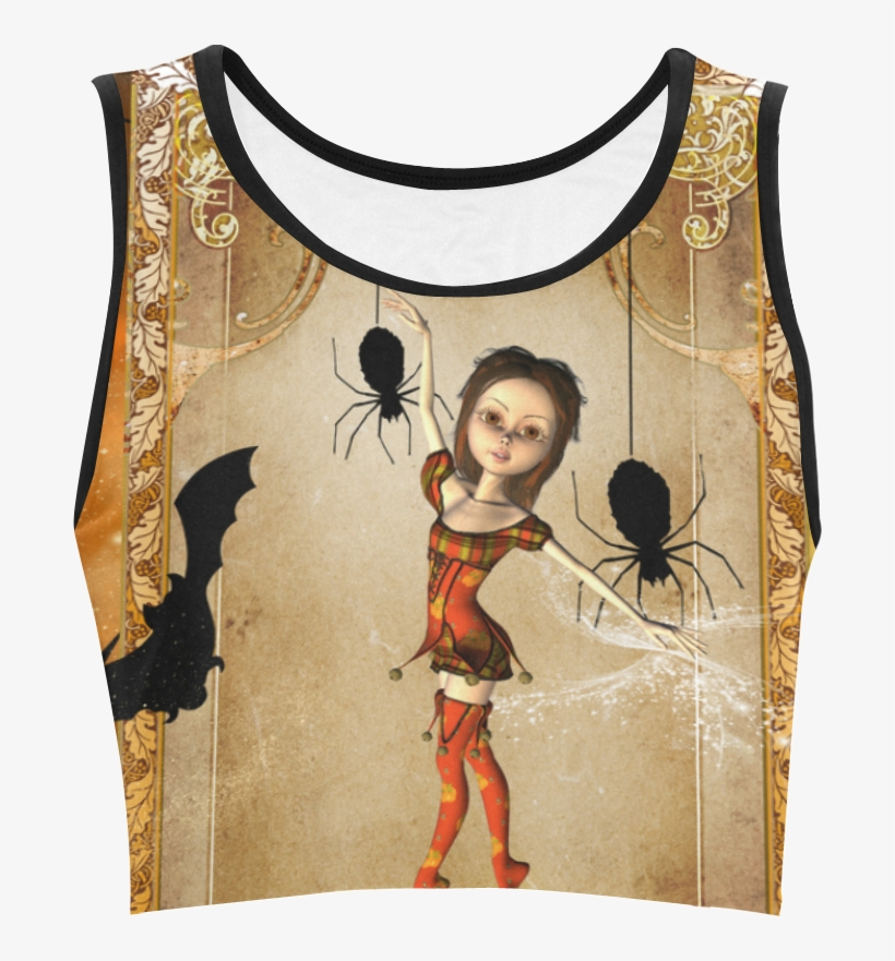 Halloween, Cute Girl With Spiders And Pumpkin Women's - Active Tank, transparent png #9664040