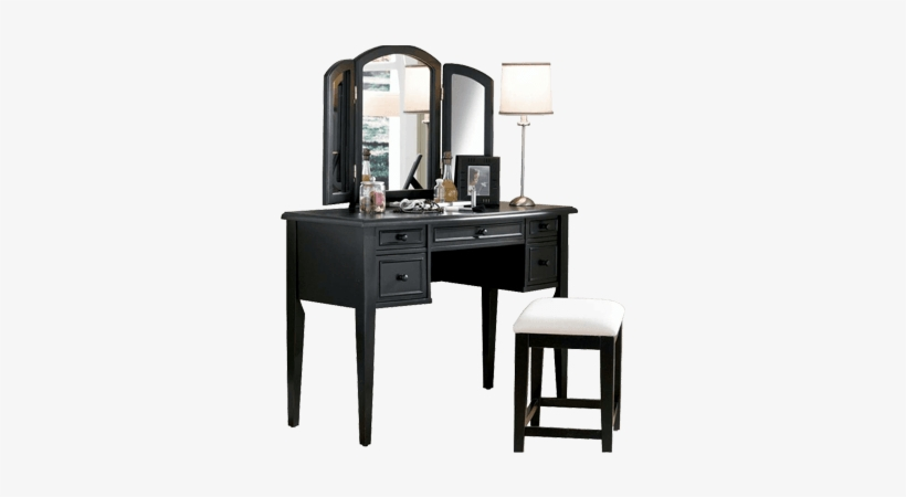 Black Dressing Table With Mirror And Front Stora - Black ...