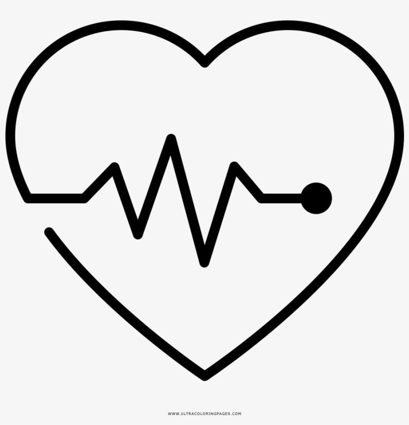 Heartbeat Monitor Coloring Page - Line Art, transparent png #9678315