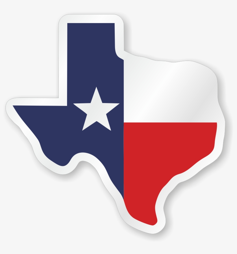 Texas Flag Hard Hat Decals - Texas Outline With Flag, transparent png #9684178