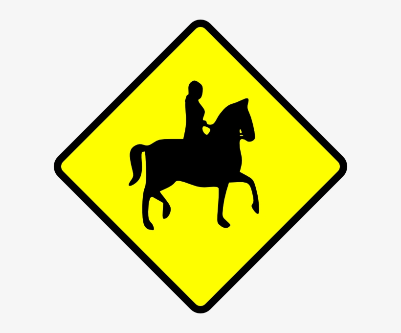 Free Vector Caution Horse Ridder Crossing Clip Art - Caution Horse Sign, transparent png #971059