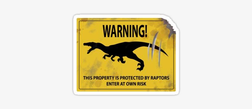 Damaged Raptor Warning Sign Stickers - Caution Dinosaur Sign, transparent png #971180